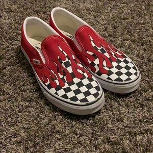 Vans Slip On Checkerboard Flame Red